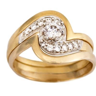 Swirl Bypass Bridal Set Gold Wedding Ring image