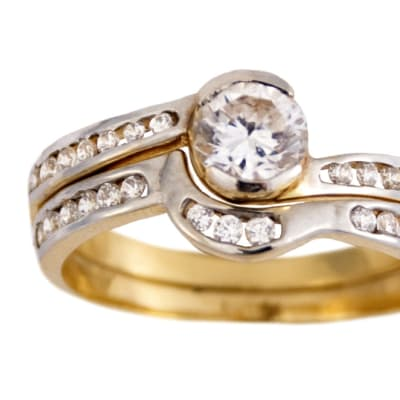 Swirl Bypass Gold Wedding Ring Set image