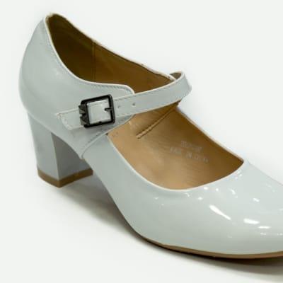 TS - Medium Chunky Heels White with strap image