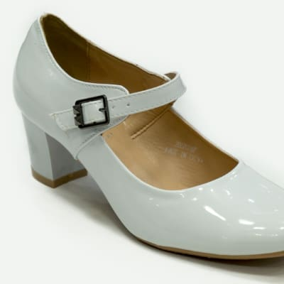 TS - Medium Chunky Heels White with strap image