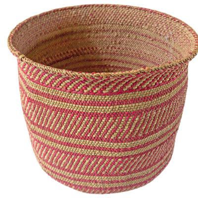 Basket Tanzanian  Hand Woven Soft in Khaki and Pink Fibre image