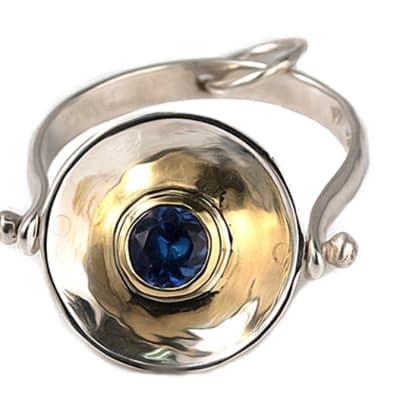 Silver & Yellow Gold Tanzanite  Calabash Ring image