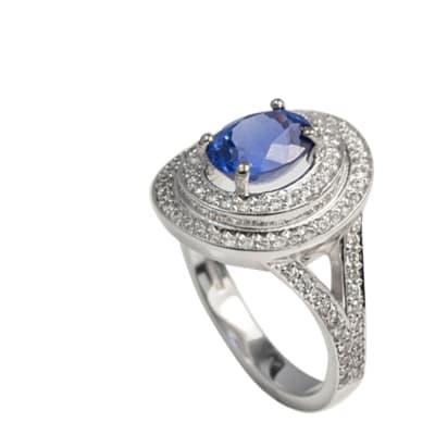 White Gold Tanzanite & Diamonds  Split Shank Ring image