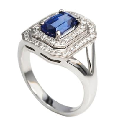 White Gold Tanzanite & Diamond  Square Ring image