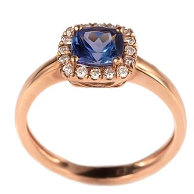 Rose Gold Tanzanite  Pave Cage Ring image