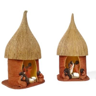 African Christmas Nativity Scene Huts image