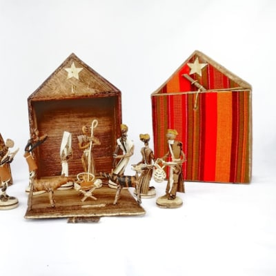 African Christmas Nativity Scene with background image