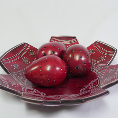Brown Fruit Bowl with three eggs image
