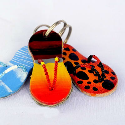 Hand painted leather pata pata key rings image