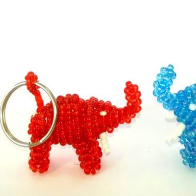 Beaded elephant key rings image