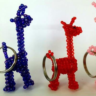 Beaded giraffe key rings image