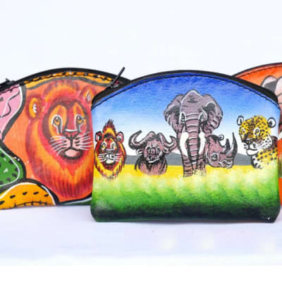 Hand painted leather coin purses image