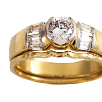 Traditional Round Cut Gold Wedding Ring Set image