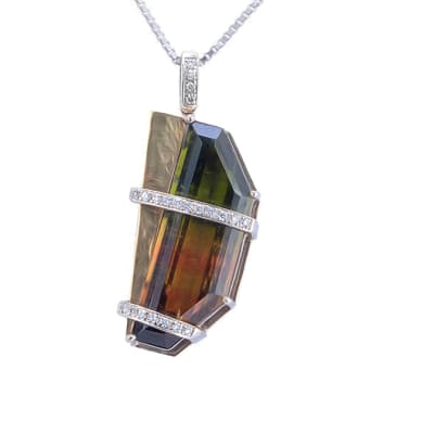 White Gold  Tourmaline Abstract  Pendant  image