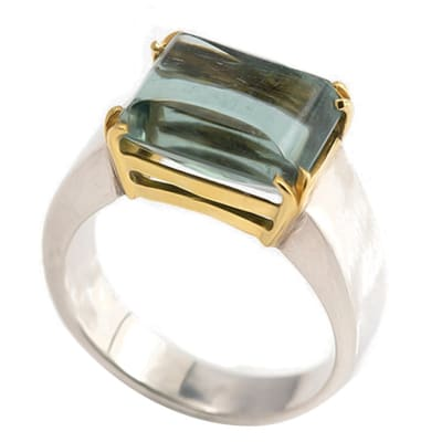 Silver & Gold Tourmaline  Double Claw Ring Shank  image