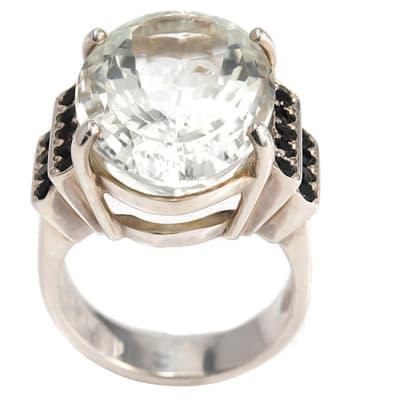 Silver  Tourmaline & Onyx  Ring  image