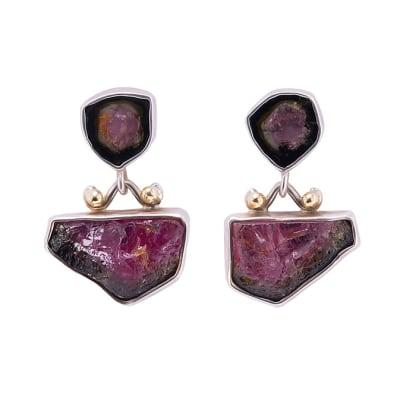 Silver Slice  Tourmaline  Earrings image