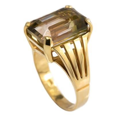 Yellow Gold Tourmaline  Split Shank Ring image