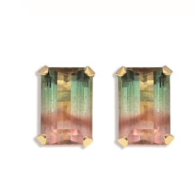 Yellow Gold Tourmaline  Tappered Cage Earrings image