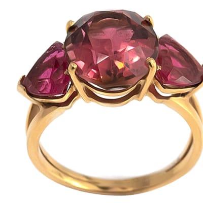 Yellow Gold Tourmaline  Trilogy Ring  image