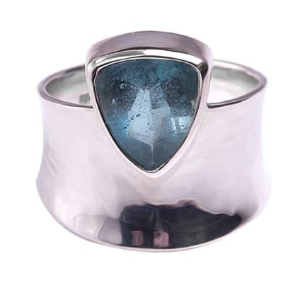 Silver  Aquamarine  Trillion Bezel Ring image