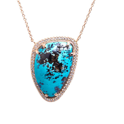 Yellow Gold Turquois  Pave & Cage Necklace  image