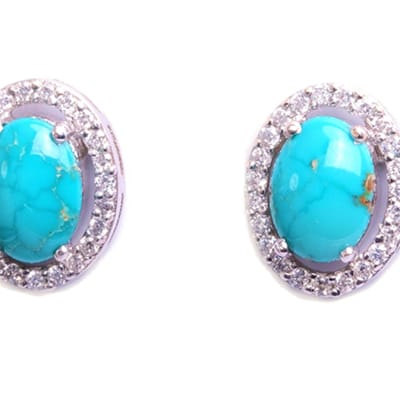 White Gold  Turquoise & Diamond Pave   Stud Earrings  image