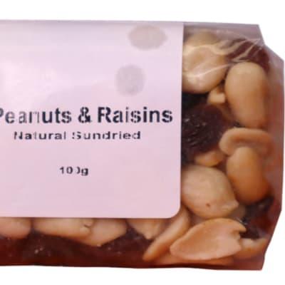 Peanuts & Raisins Mix Energy, Fibre, Carbohydrates, Protein & Fats 100g  image