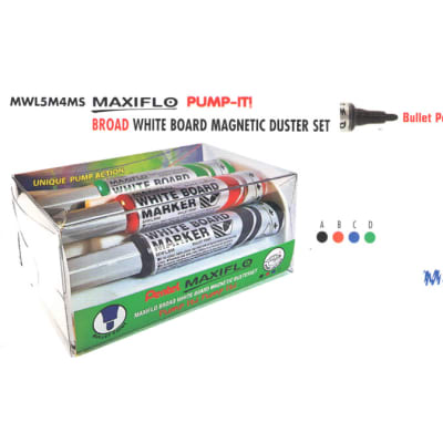 White Board Markers - MWL5S4MS Maxiflo Pump-It White Board Magnetic Duster Set - Bullet Point image