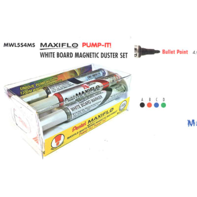 White Board Markers - MWL5M4MS Maxiflo Pump-It White Board Magnetic Duster Set - Bullet Point image