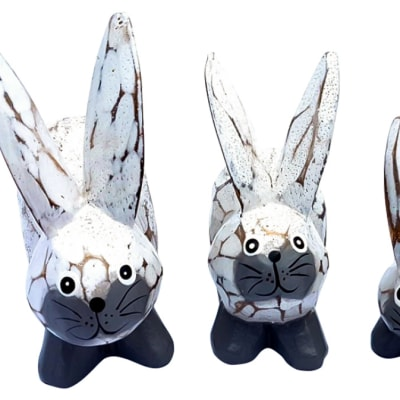 Craft Handcrafted  White Wooden Rabbits image