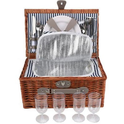 Wicker Picnic Basket Set for Four  image