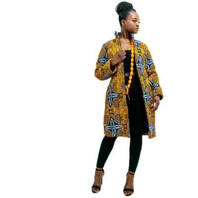 Winter Ankara Jacket - Orange with white details & zip image