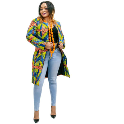 Winter Ankara Jacket - Yellow with blue image