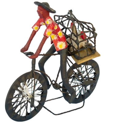 Toy Bicycles  Traditional Man Carrying Chickens  Bicycle Sculpture image