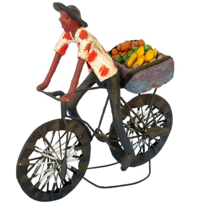 Toy Bicycle  Man Carrying  Vegetables Sculpture image