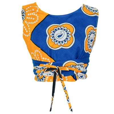 Crop Top  Women's Kanga Cotton  Blue and Yellow Floral image