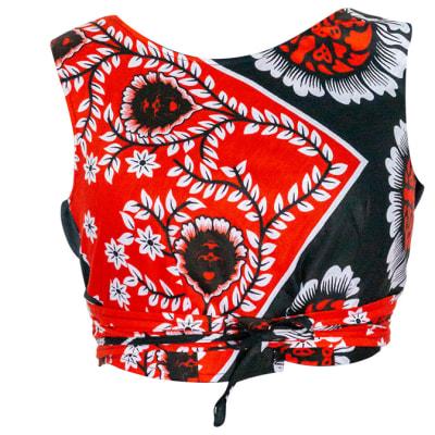 Crop Top  Women's Kanga Cotton  Orange and Black Floral  image