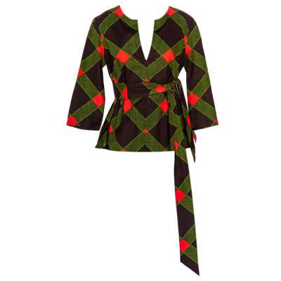 Women's Caftan  Chitenge Top  Black Green Orange with Matching Strap image