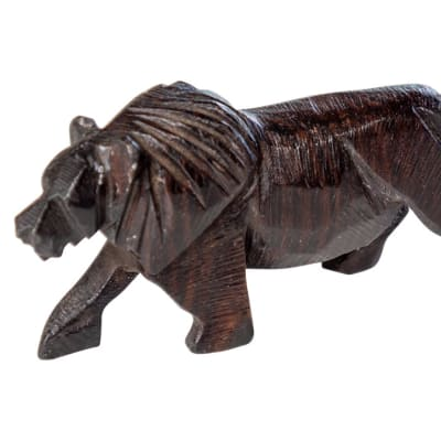 Wooden  Carvings  Animal Black Lion image