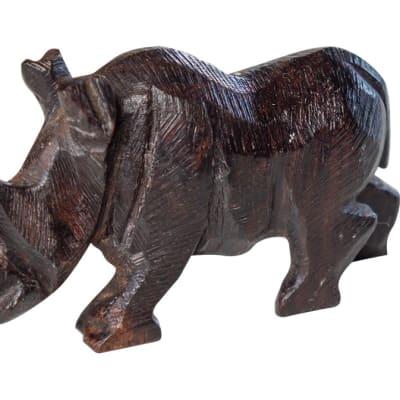 Wooden Carvings Animal Black Rhino image
