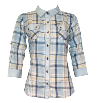 Kurti Casual Top blue and yellow checked K450 image