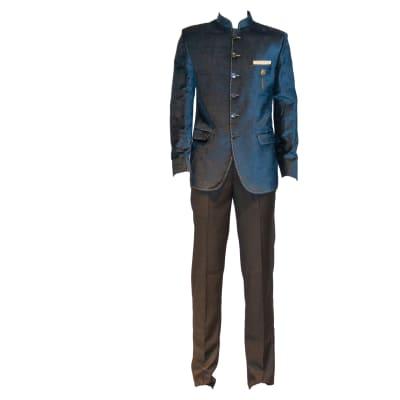 George Jodhpuri Suit Navy Jacket Black Trousers image