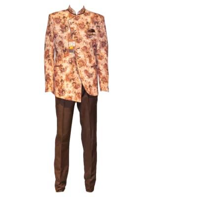 George Jodhpuri Suit Peach-Brown Jacket Black Trousers image