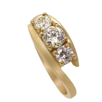 Yellow Gold Diamond  Bridal Triology Ring image