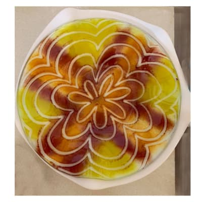 Yellow Serving dish with concentric petal rings image