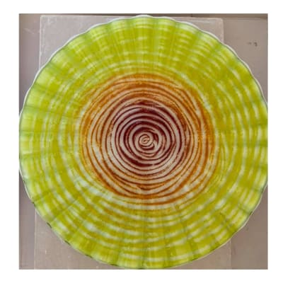 Yellow serving dish with concentric red rings image