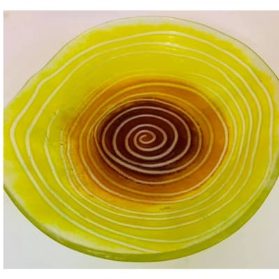 Yellow Serving platter with concentric rings image