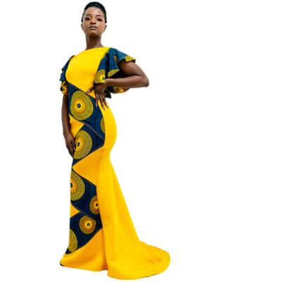 Yellow maxi Ankara dress - K1,500 With blue circles image