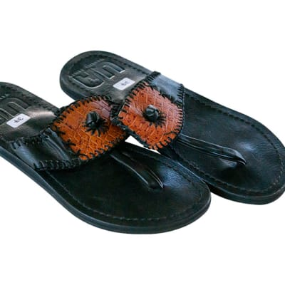 Tanzanian Leather  Slippers  with Brown and Black Strap image